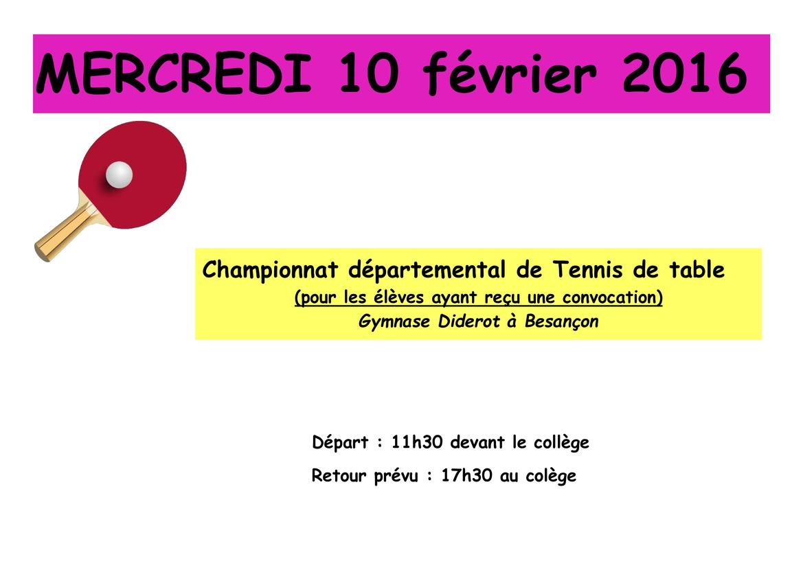 Championnat d partemental de tennis de table college - Championnat d europe de tennis de table ...